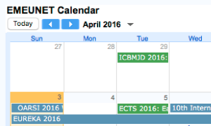 New EMEUNET calendar of deadline and events